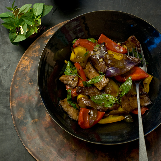 Beef with Red and Yellow Bell Peppers