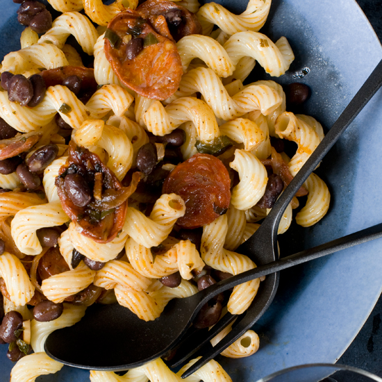 Cavatappi with Chorizo and Black Beans