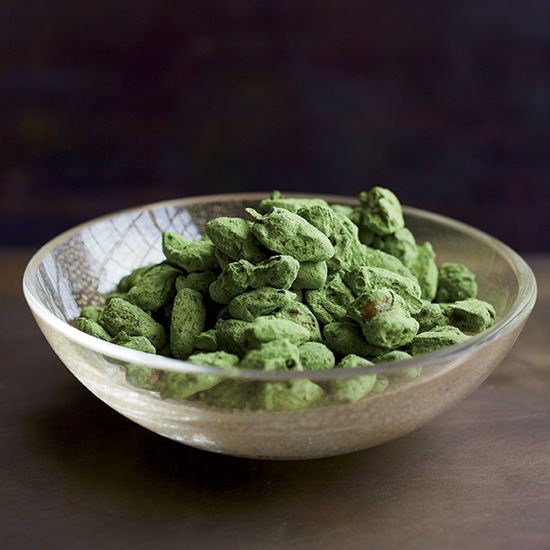 Matcha-Dusted Caramel Almonds