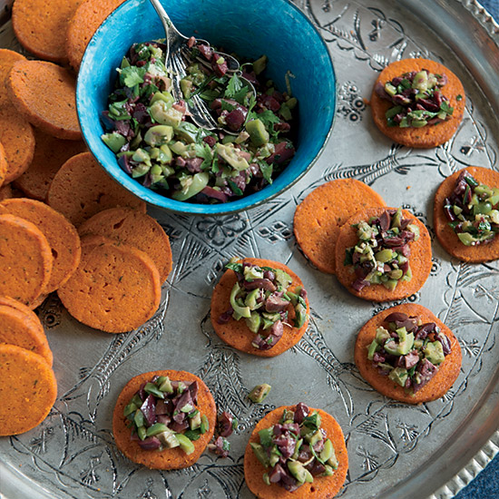 Thanksgiving Appetizer Tomato-Thyme Shortbreads with Olive Gremolata