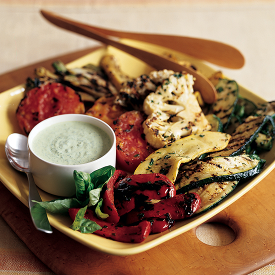 Grilled Vegetables with Green Goddess Dressing