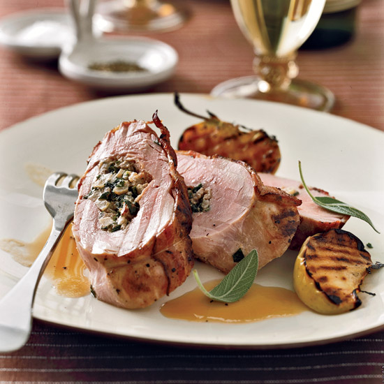 Stuffed Pork Tenderloin with Bacon and Apple-Riesling Sauce