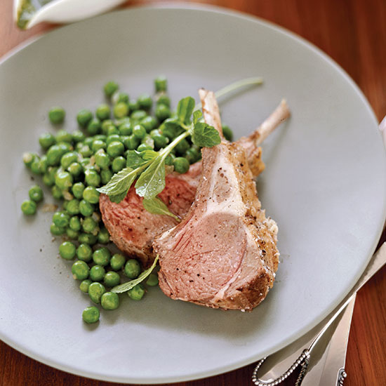 Rack of Lamb with Coconut-Mint Sauce and Glazed Peas
