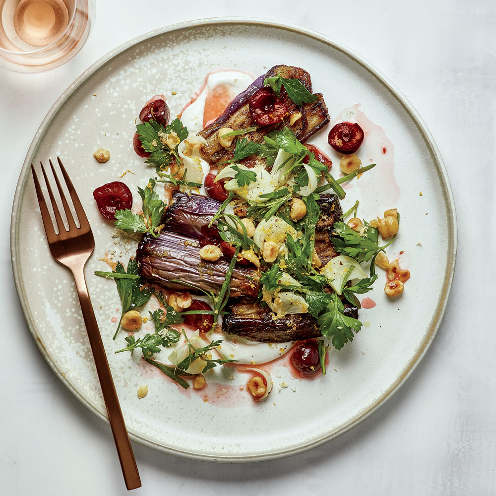 Baharat-Spiced Eggplant with Hazelnuts, Cherries and Tarragon