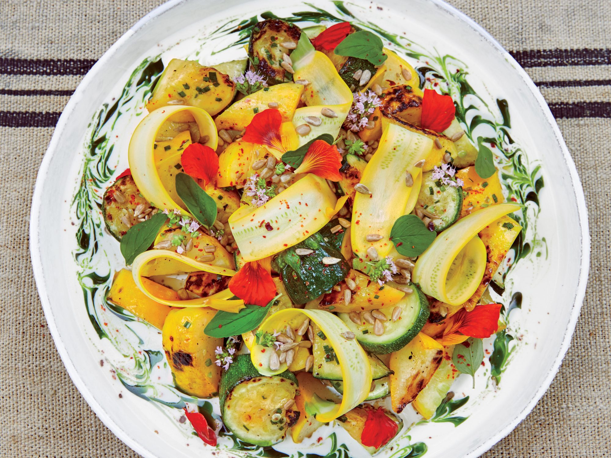 Herbed Summer Squash with Goat Cream Cheese