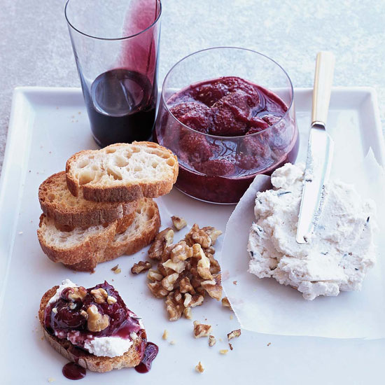 Goat Cheese Mousse with Red-Wine Caramel