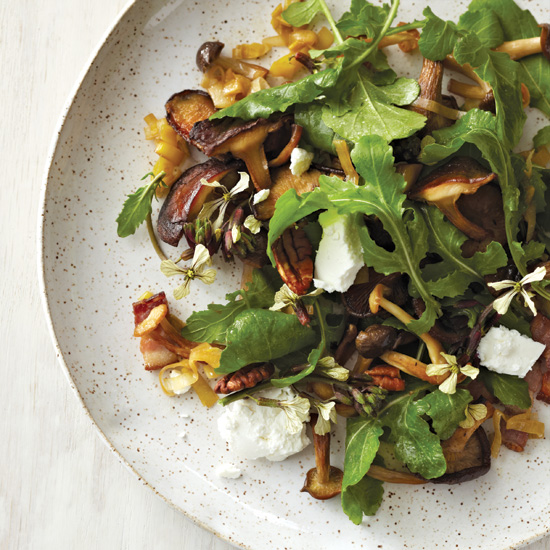 Warm Mushroom Salad with Bacon Vinaigrette