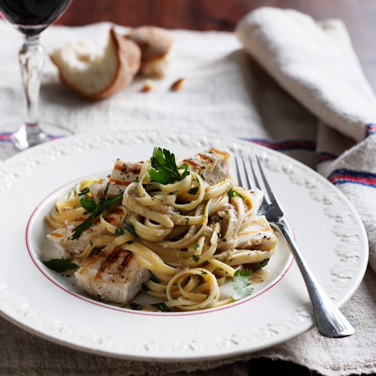Linguine Piccole with Grilled Swordfish and Parsley Anchovy Sauce