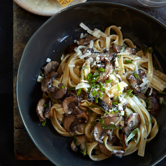 Fettuccine with Mushrooms, Tarragon, and Goat-Cheese Sauce