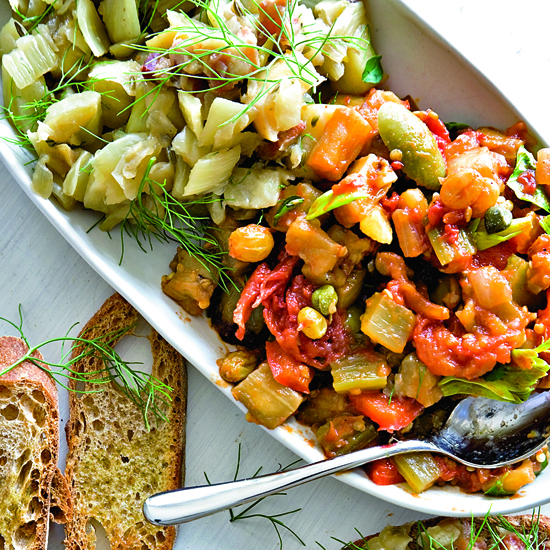 Eggplant Caponata with Golden Raisins