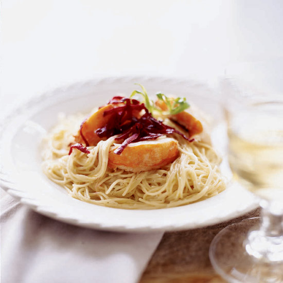Lobster Capellini with Leek-Tarragon Cream Sauce