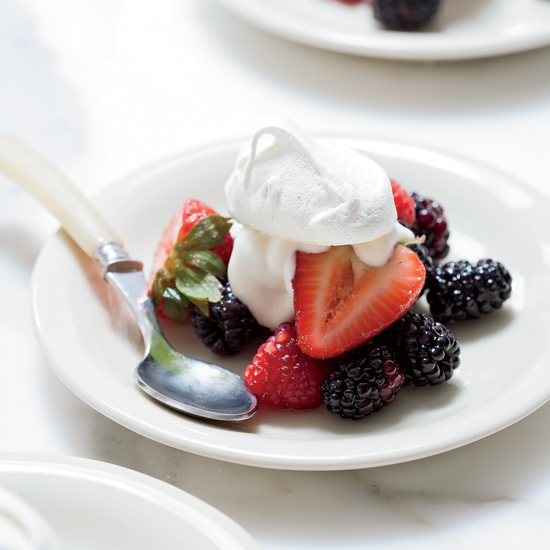 Summer Berries with Cumin Meringues and Crème Fraîche