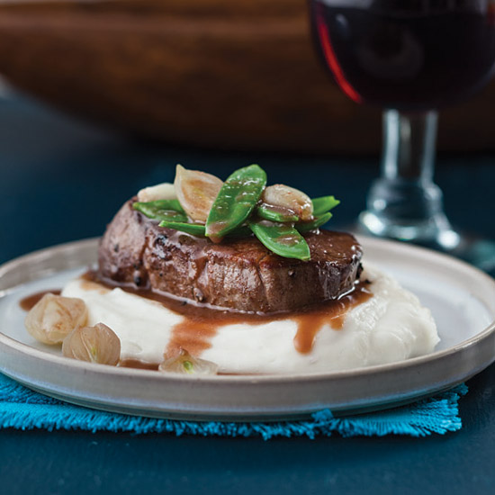 Beef Tenderloin with Cilantro-Wine Sauce and Mashed Yucca