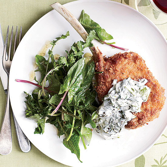 Panko-Crusted Veal Chops with Sorrel Cream