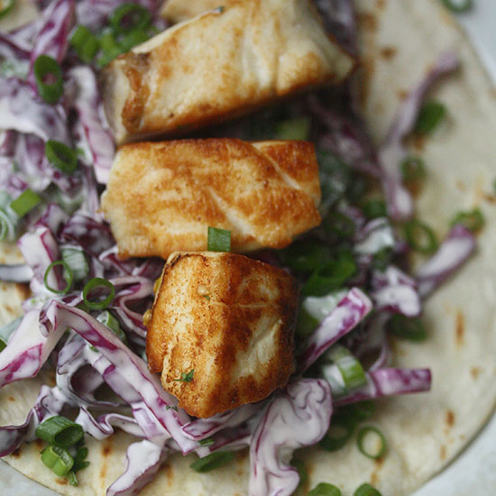 Seared Fish Tacos with Cabbage-Scallion Slaw