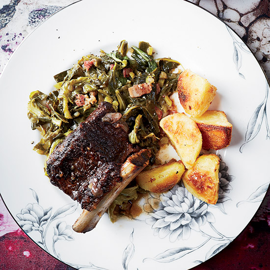 Braised Short Ribs with Miso Collard Greens