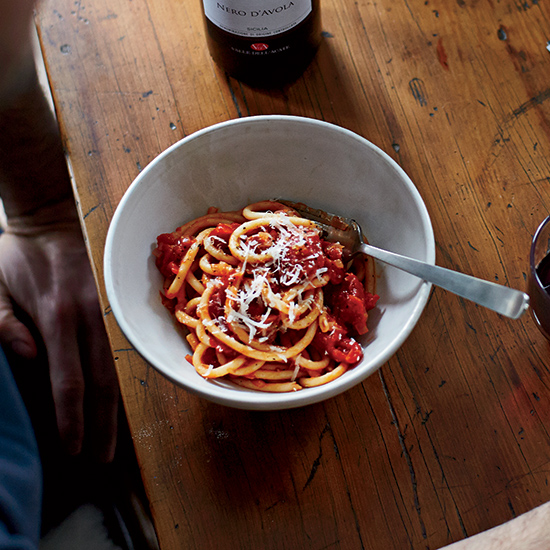 Jenn Louis: Bucatini all'Amatriciana with Parmigiano