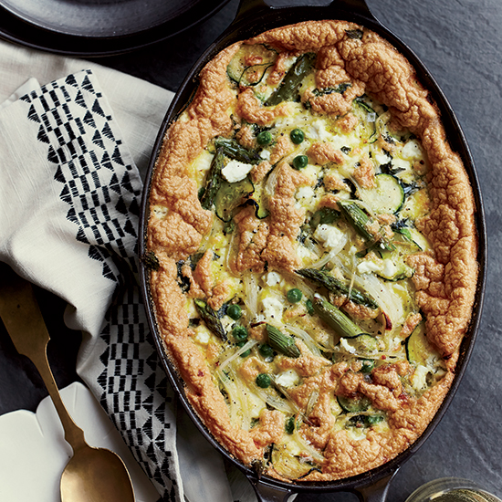 Baked Spring Vegetable Omelet with Goat Cheese and Mint
