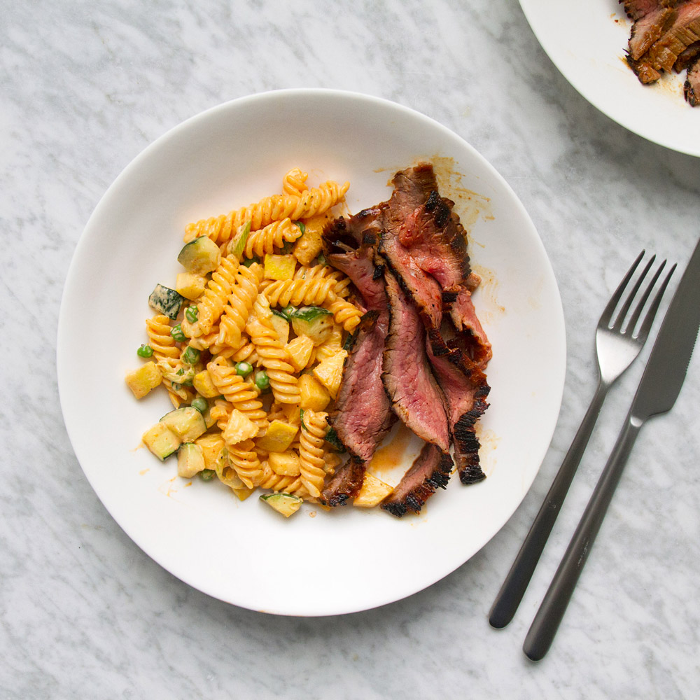 Gochujang Flank Stead and Korean Pasta Salad