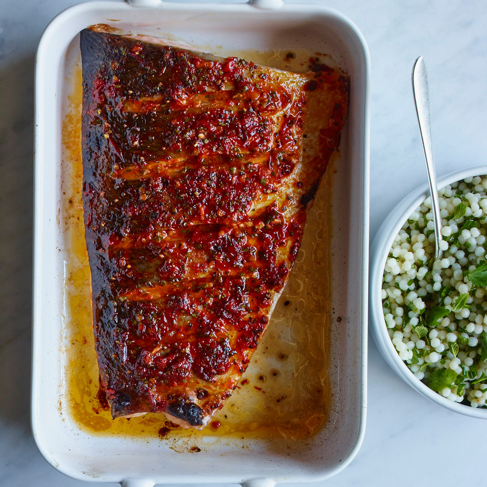Harissa-Spiced Salmon with Israeli Couscous