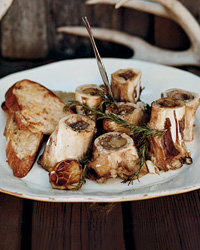 Grilled Marrow Bones with Rosemary–Lemon Bruschetta