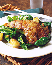 Calf's Liver with Spinach Salad, Croutons and Pine Nuts