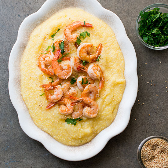 Sesame Shrimp on Polenta