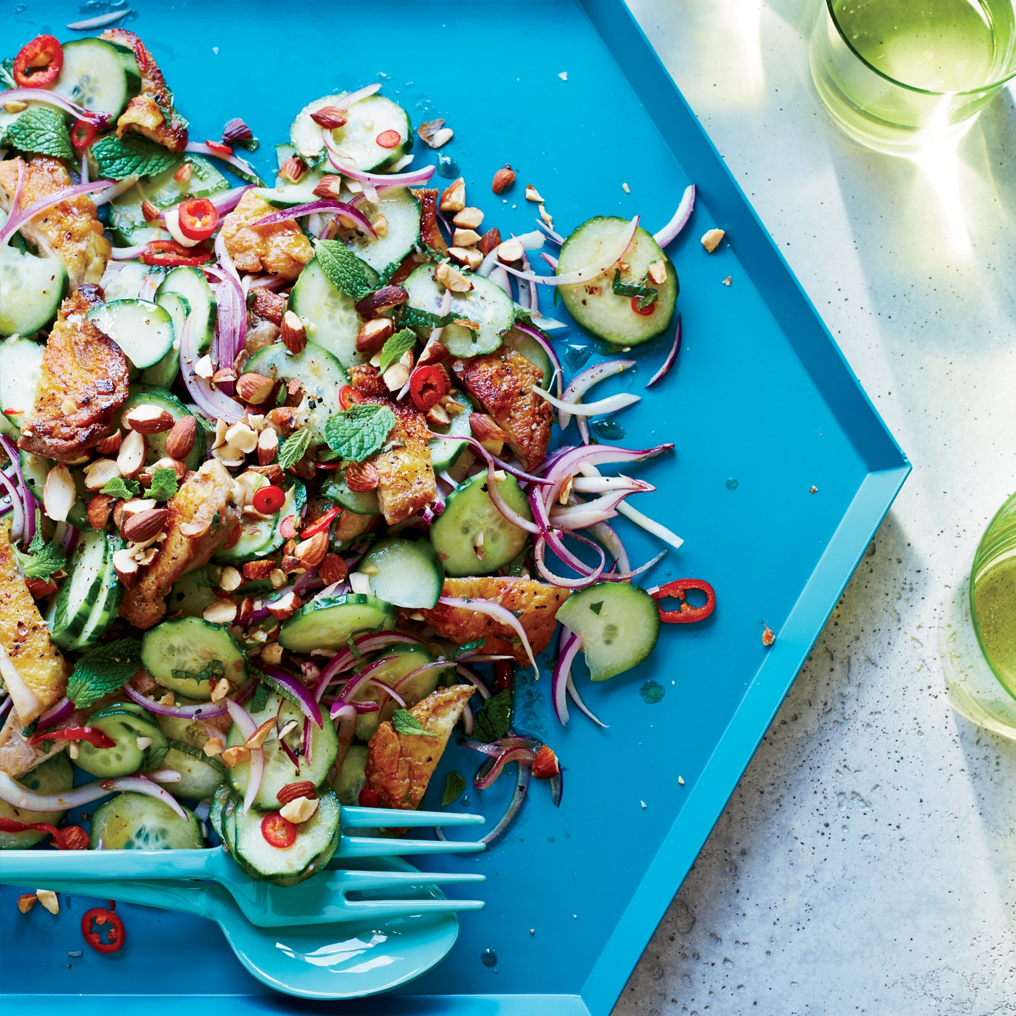 Grilled Chicken Thigh and Cucumber Salad