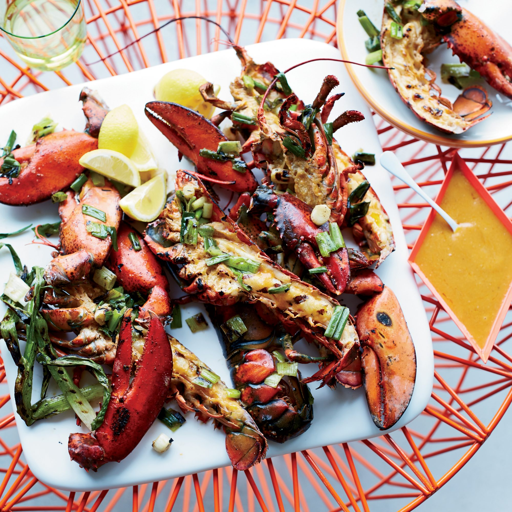 Grilled lobsters with miso chile butter recipe gail for Best time to visit maine for lobster