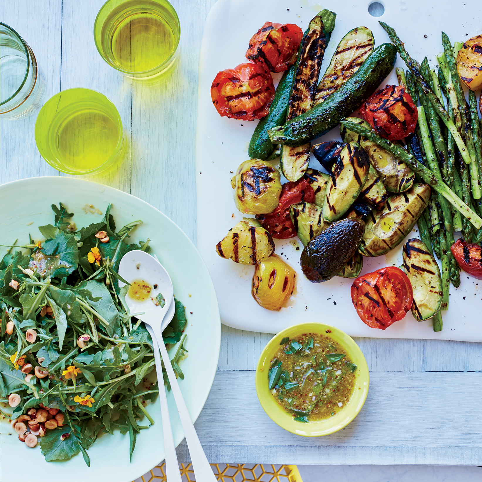 Grilled Vegetables and Summer Greens with Shallot Vinaigrette