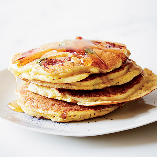 Country Ham Flapjacks with Maple Syrup