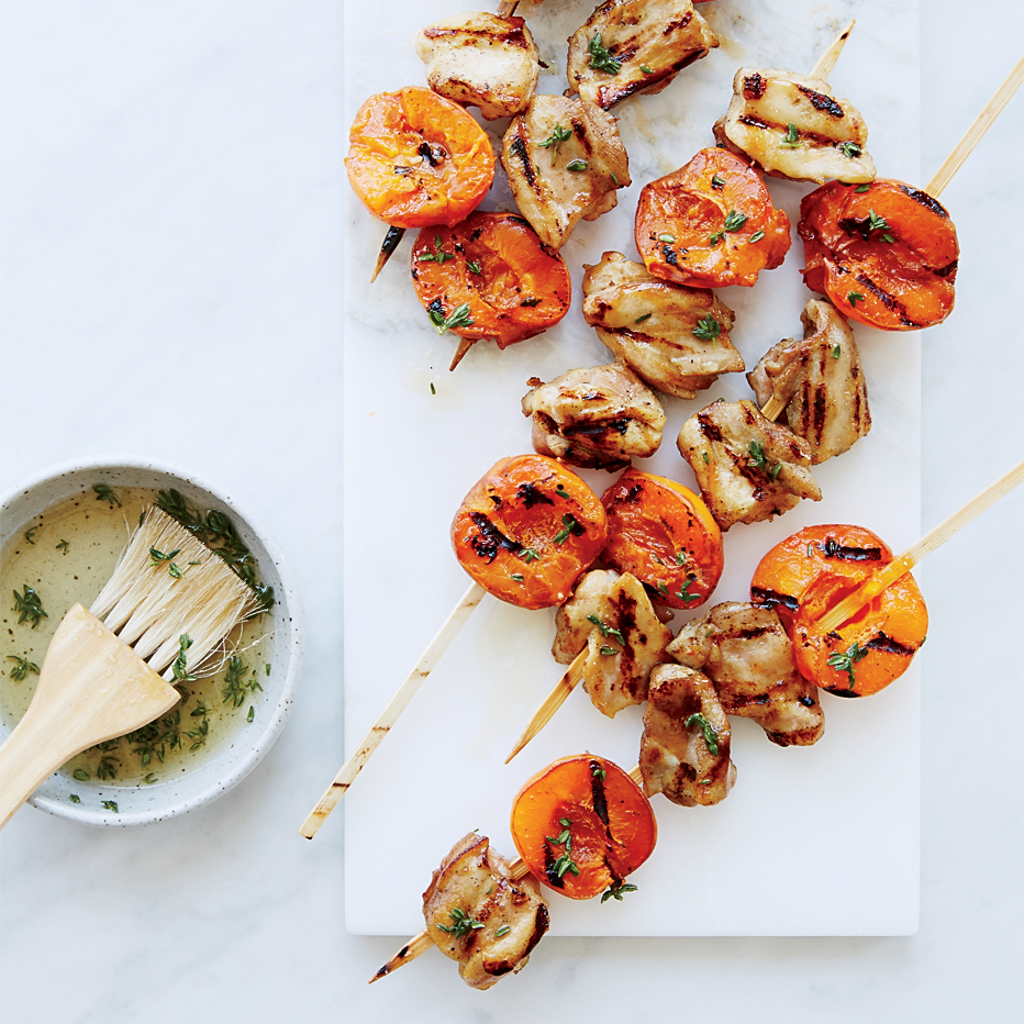 Honey-Thyme Chicken-and-Apricot Kebabs