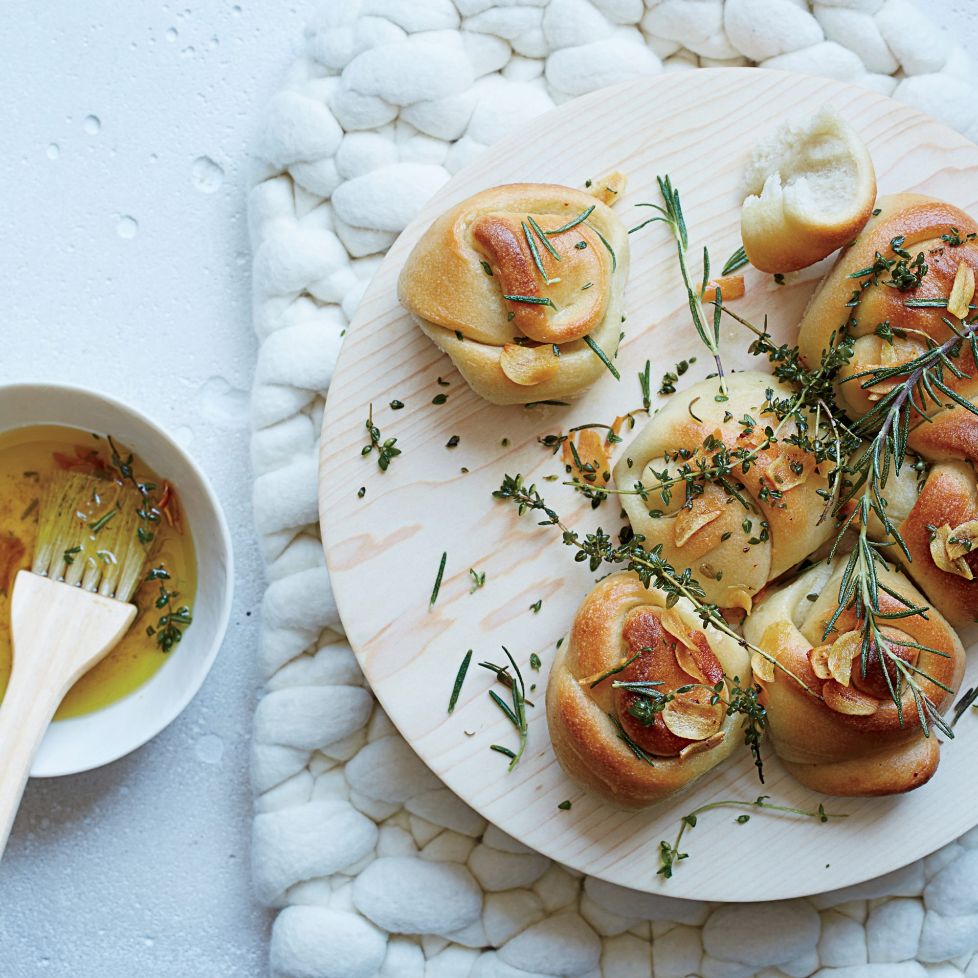 Garlic Knots with Frizzled Herbs