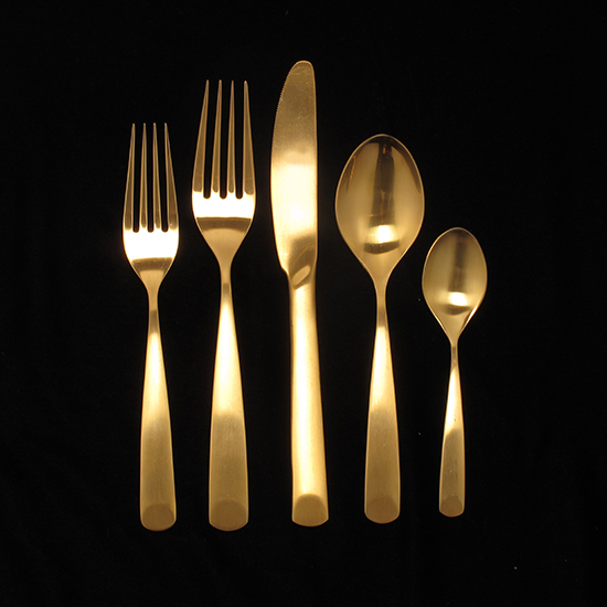 Adam Gold Matte 5-Piece Place Setting