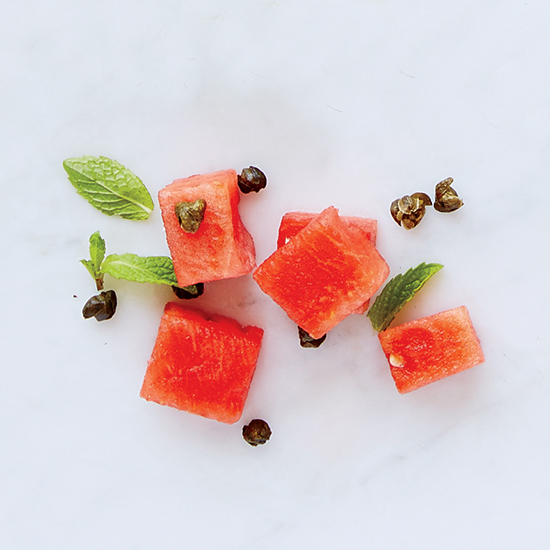 Watermelon, Mint, Fried Capers