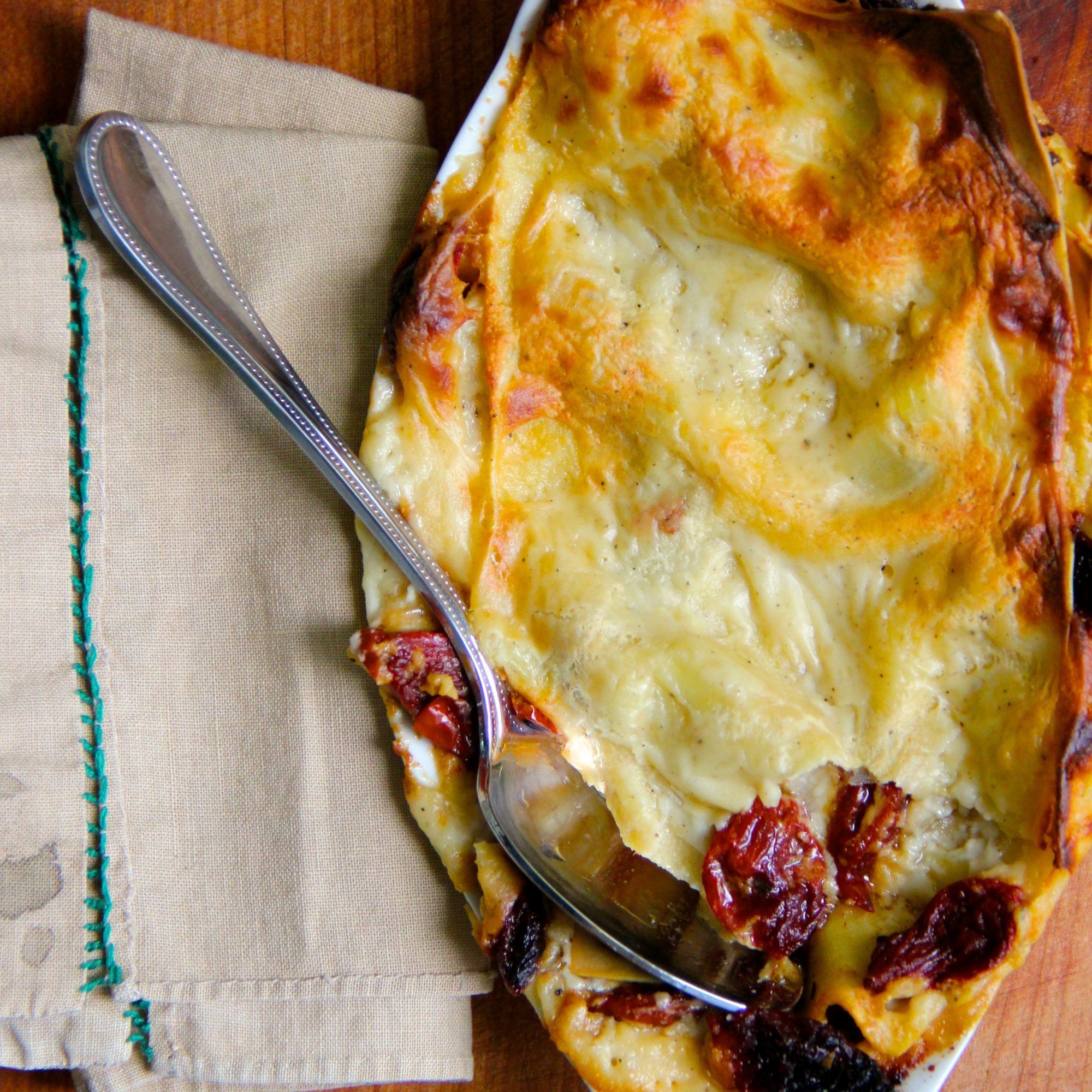 Goat Cheese and Sun Dried Tomato Lasagna