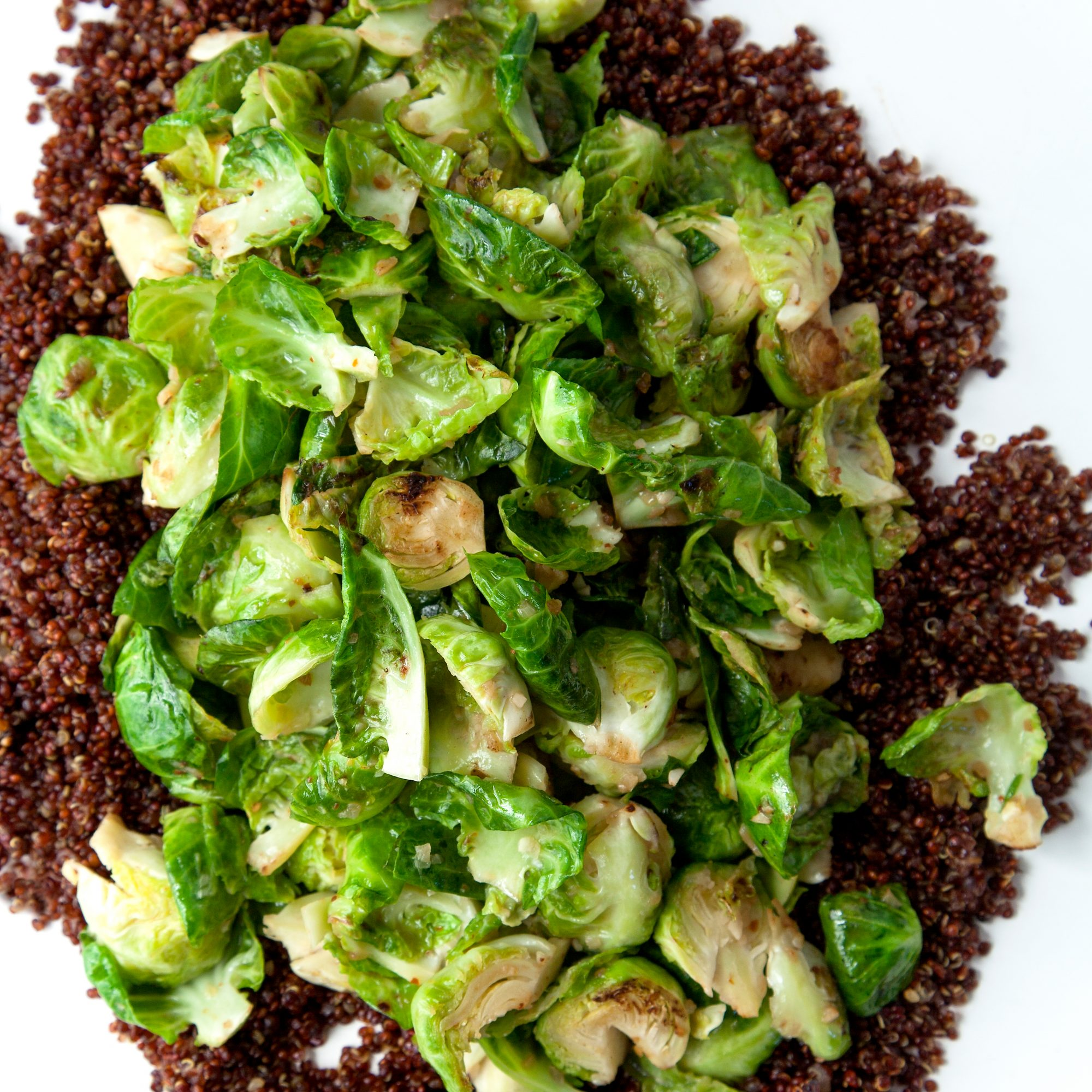 Anchovy Butter Brussels Sprouts with Toasted Quinoa