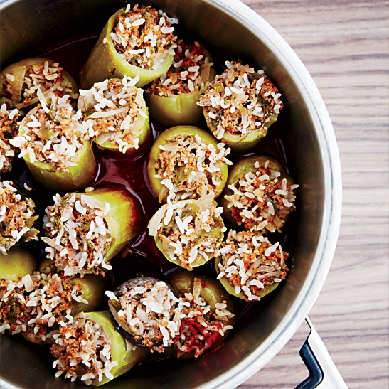 Rice-and-Meat-Stuffed Zucchini and Green Peppers