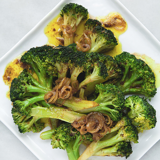 Curried Brown Butter Broccoli and Shallots
