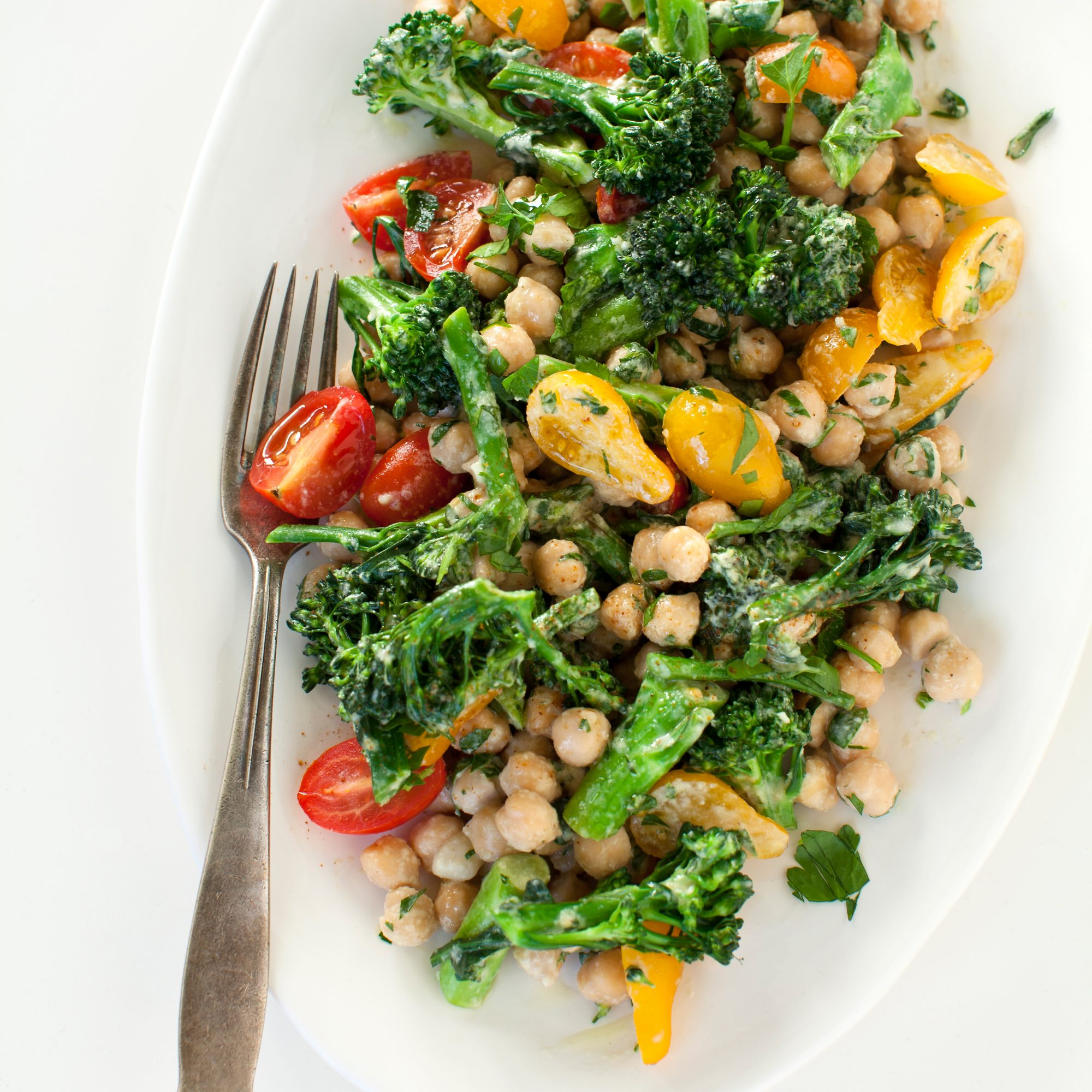 Warm Chickpea and Broccolini Salad with Tahini Dressing