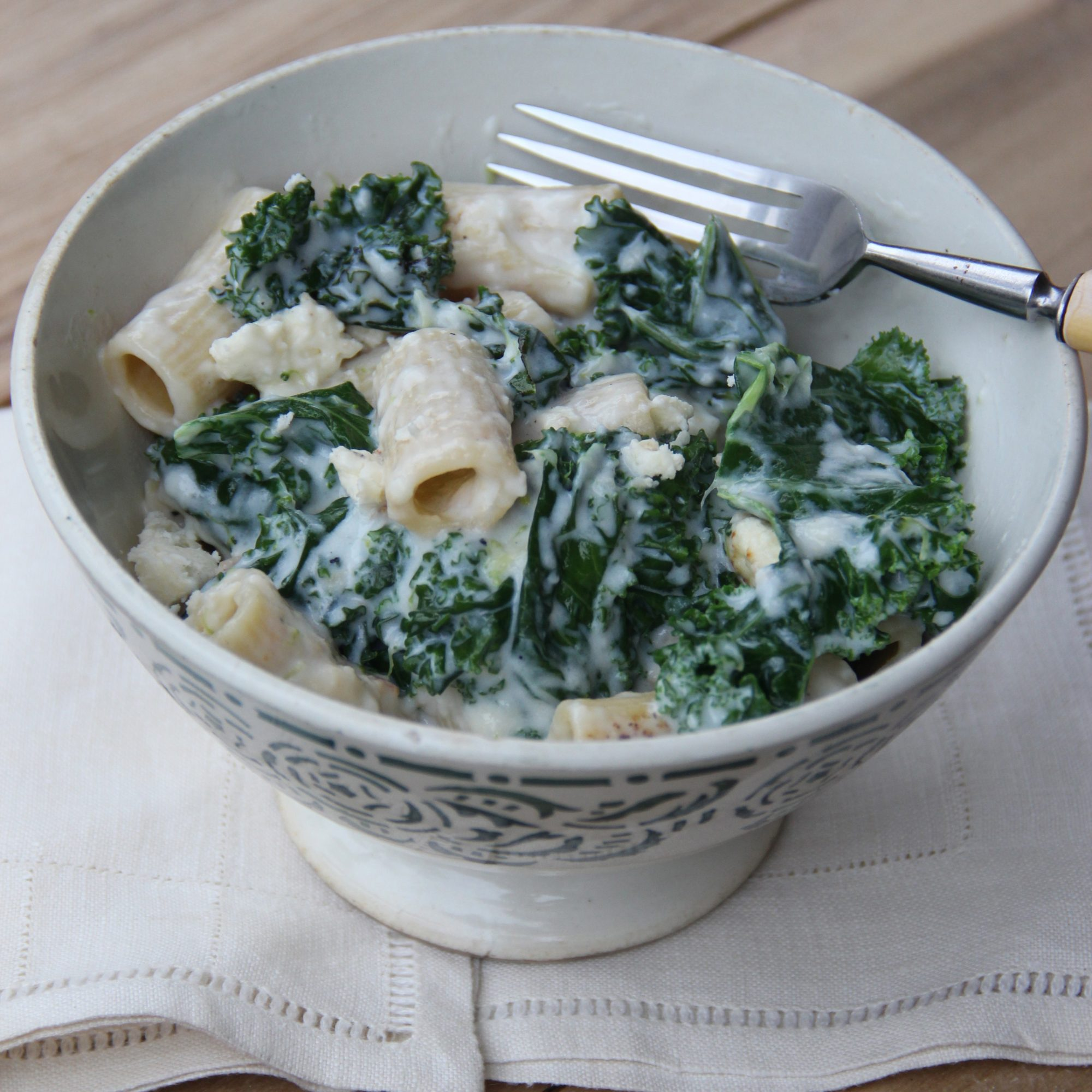 Penne with Kale and Feta Cheese