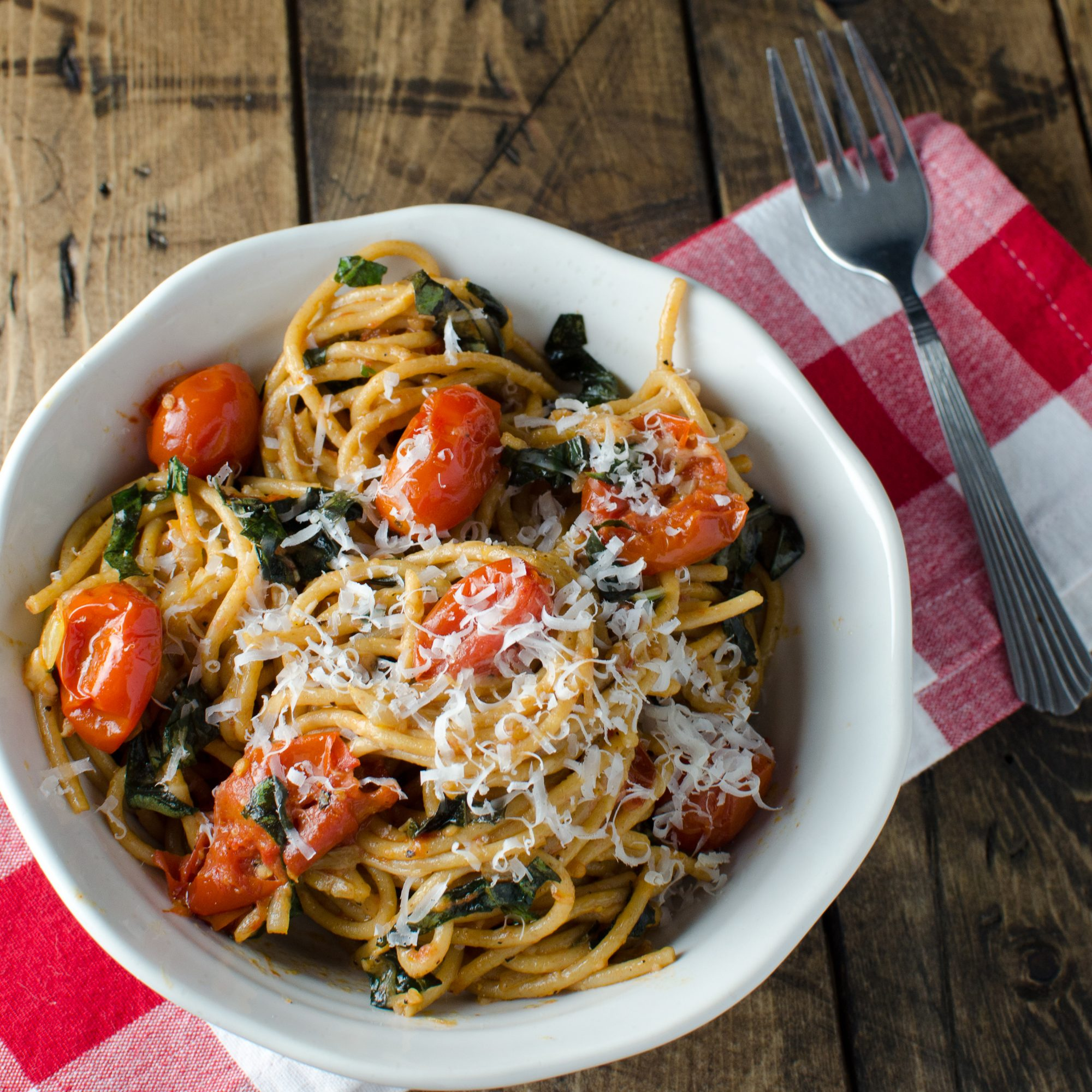 Slow-Roasted Tomatoes and Garlic with Basil Whole-Wheat Pasta and ...