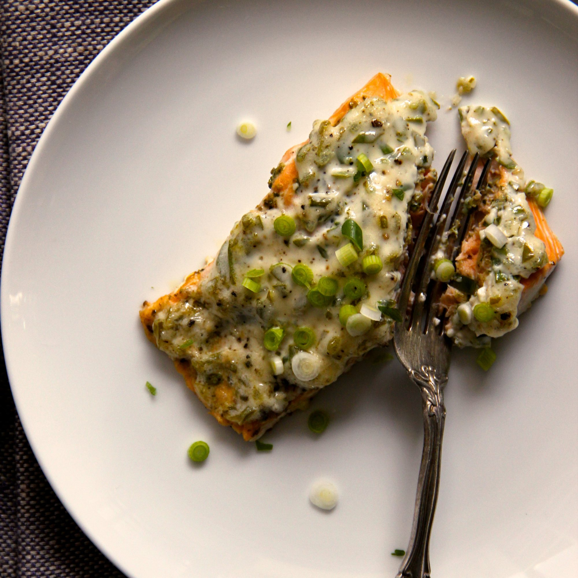 Easy Scallion Mayonnaise Baked Salmon Recipe