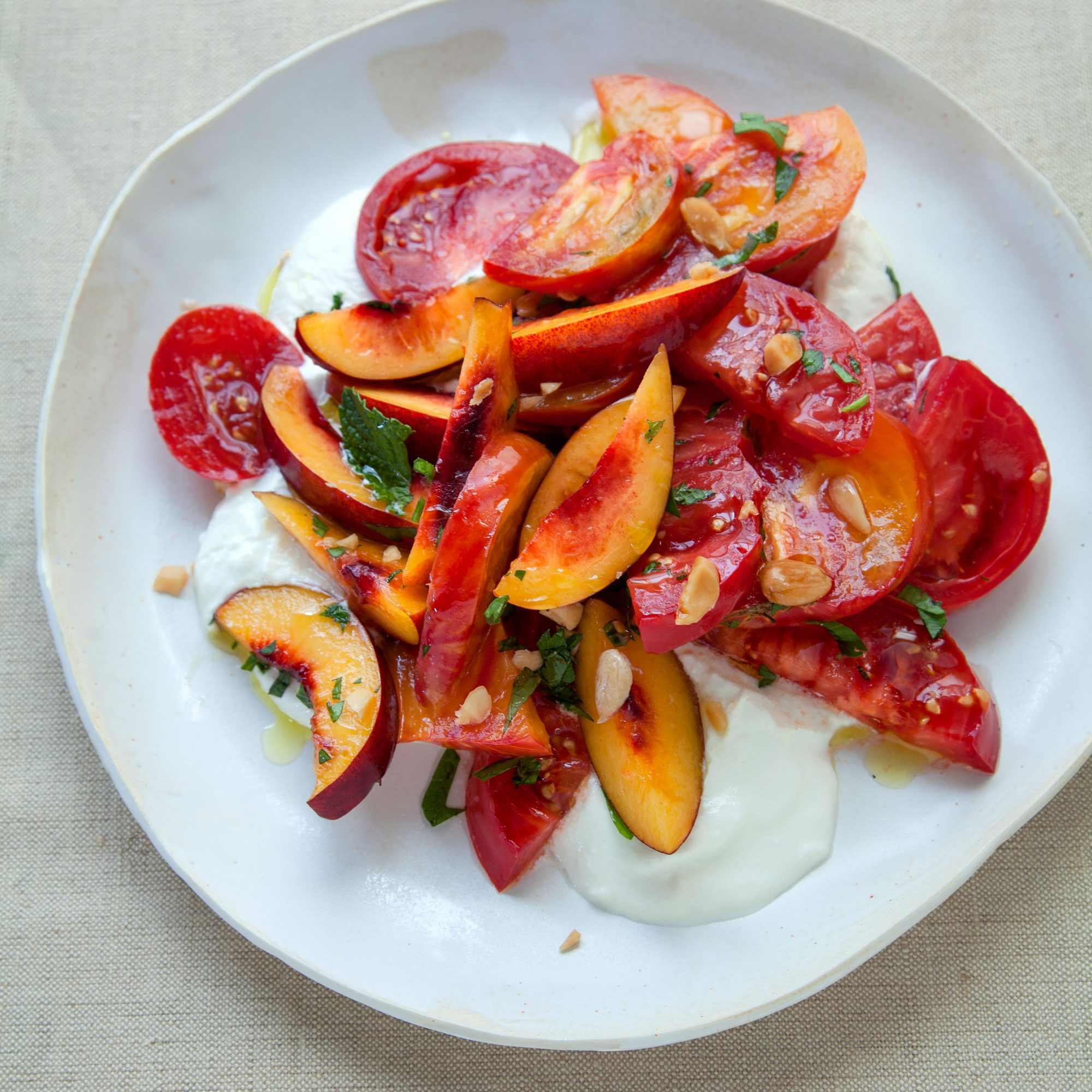 Heirloom Tomato and Nectarine Salad with Whipped Feta