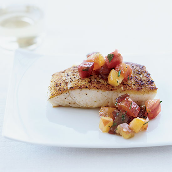 Pan-Seared Halibut with Tomato Vinaigrette