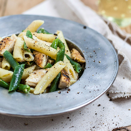 Penne with Chicken, Green Beans, and Cashew Butter
