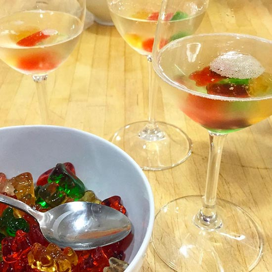 Oyster-Topped Bloody Marys and Birthday Champagne with Vodka-Soaked Gummy Bears