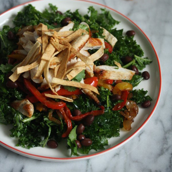Chicken Fajita Kale Salad with Cilantro-Lime Dressing