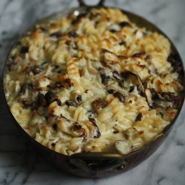 Mac and Cheese with Radicchio, Raisins and Fontina