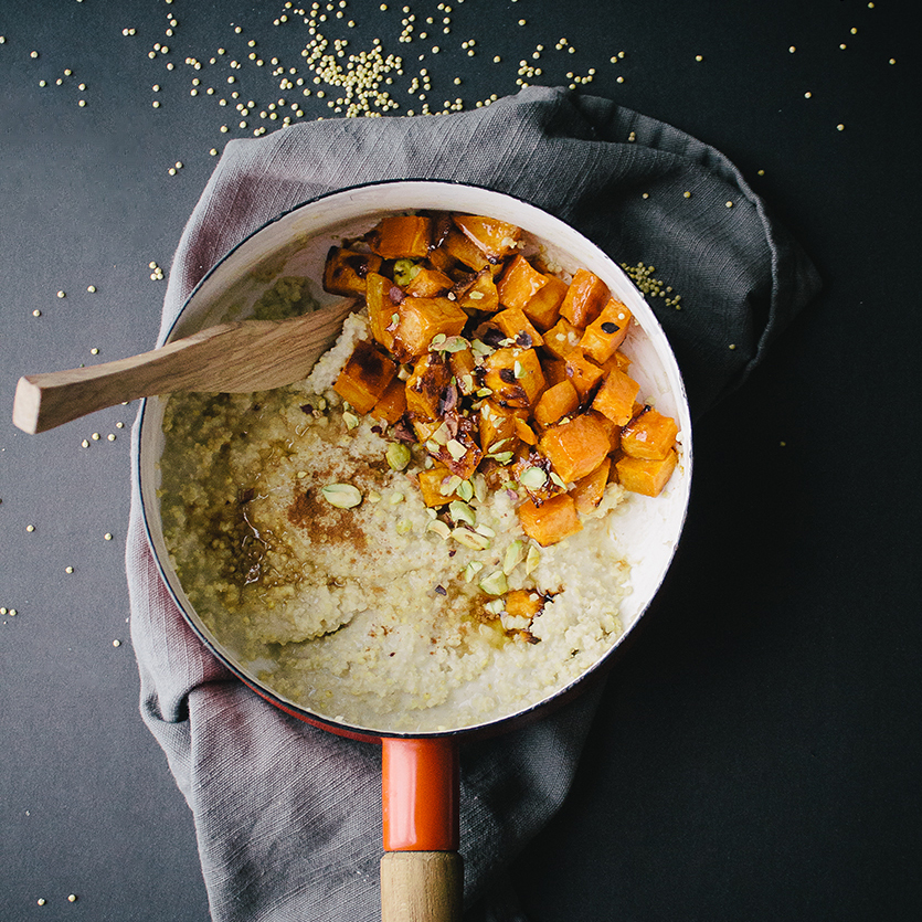 Creamy Millet Porridge with Candied Sweet Potatoes and Pistachios